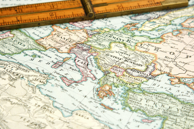 Mapa e carta do vintage foto de stock
