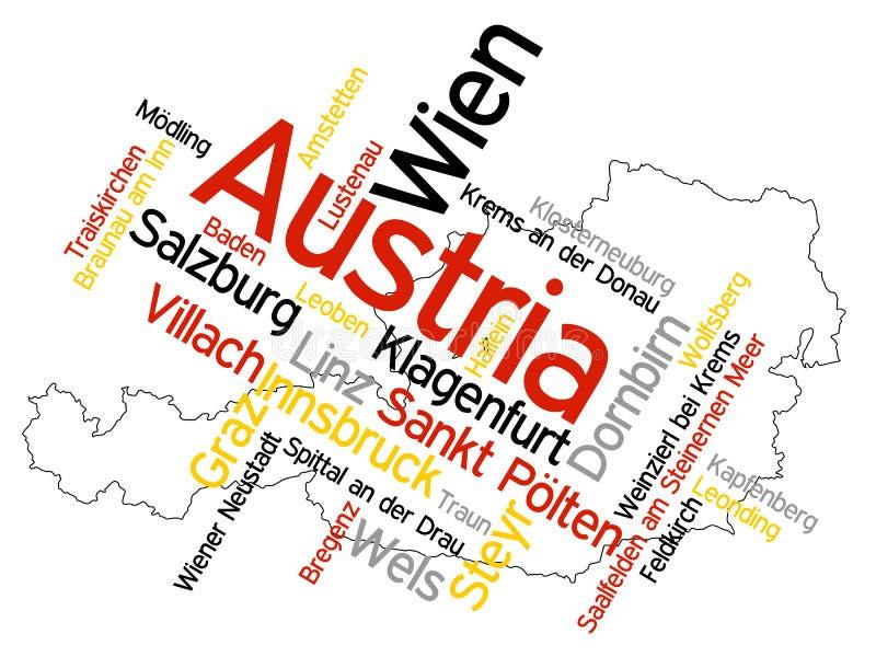 Mapa e cidades de Áustria ilustração stock