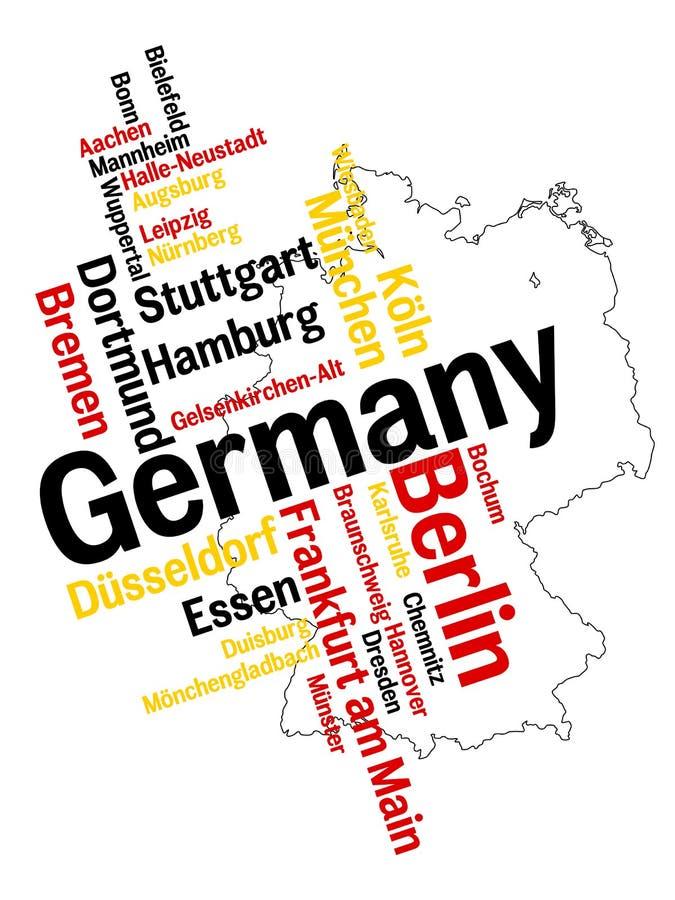 Mapa e cidades de Alemanha ilustração royalty free