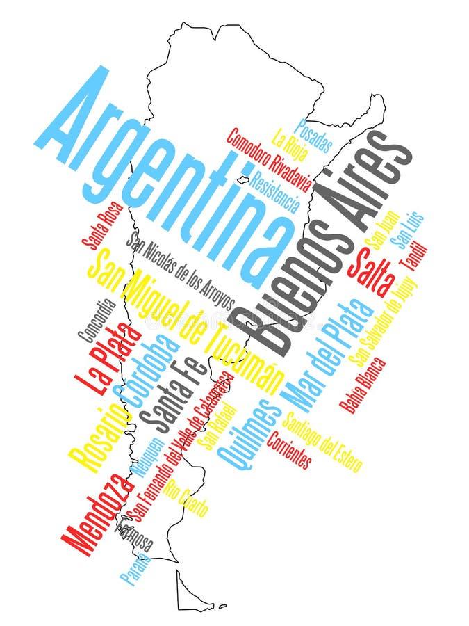 Mapa e cidades de Argentina ilustração do vetor