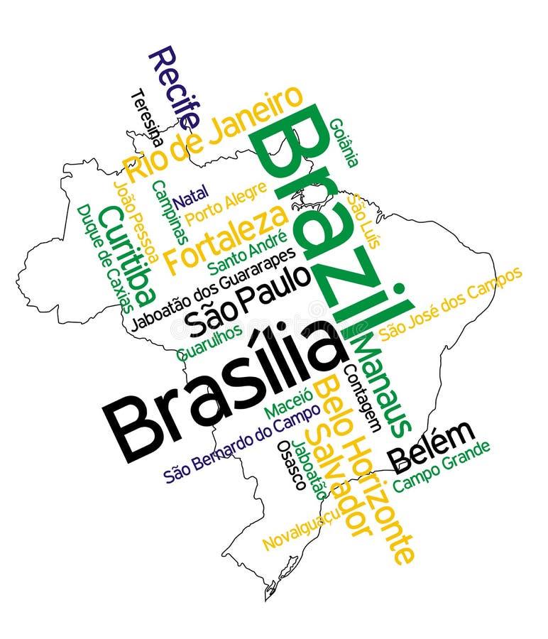 Mapa e cidades de Brasil ilustração stock