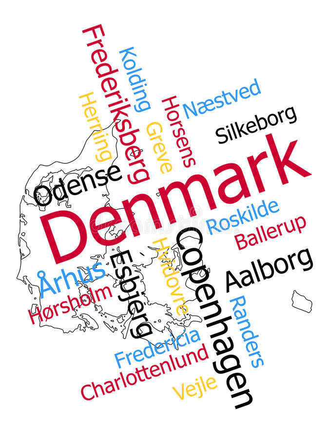 Mapa e cidades de Dinamarca ilustração stock