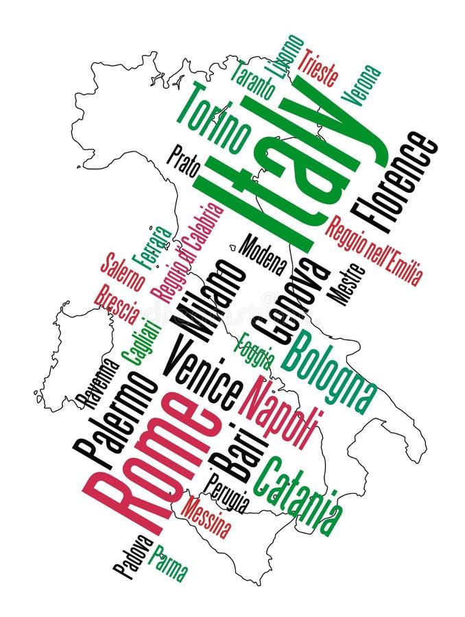 Mapa e cidades de Italy ilustração stock