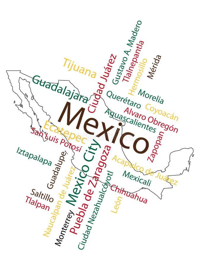 Mapa e cidades de México ilustração do vetor