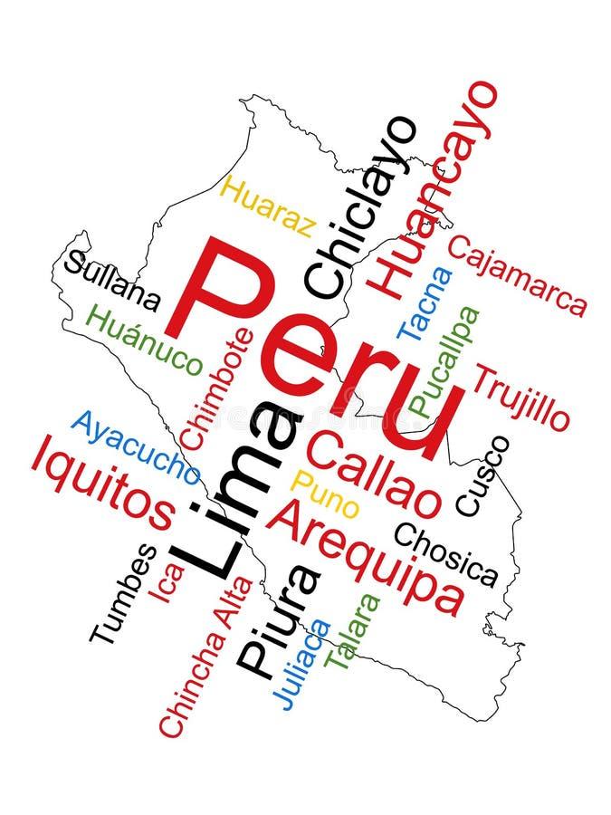 Mapa e cidades de Peru ilustração stock