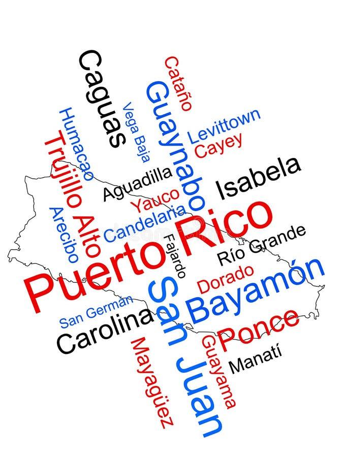 Mapa e cidades de Puerto Rico ilustração royalty free