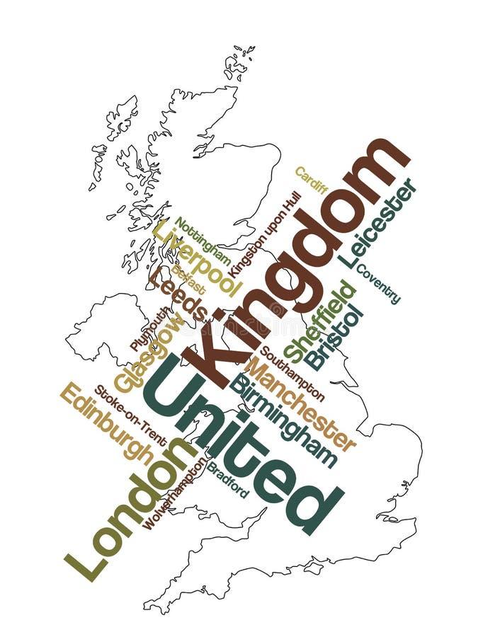 Mapa e cidades de Reino Unido ilustração royalty free