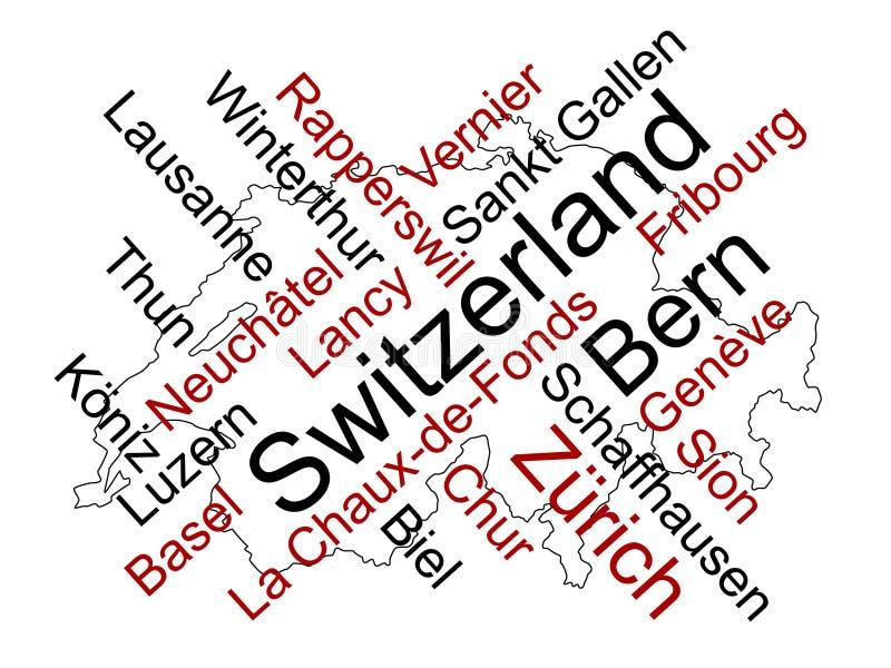 Mapa e cidades de Switzerland ilustração stock