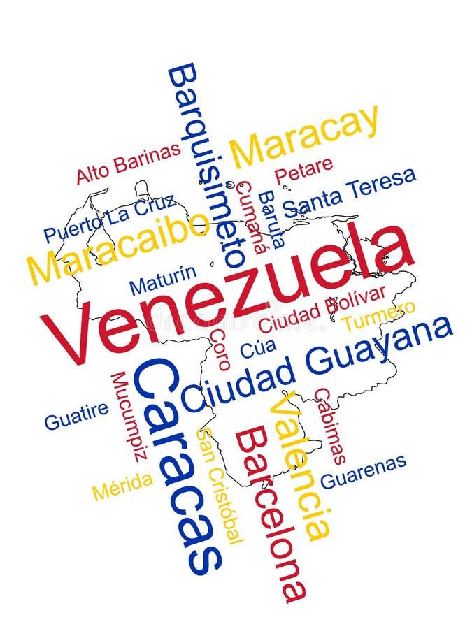 Mapa e cidades de Venezuela ilustração stock