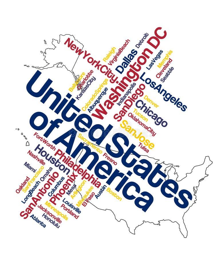 Mapa e cidades dos E.U. ilustração royalty free