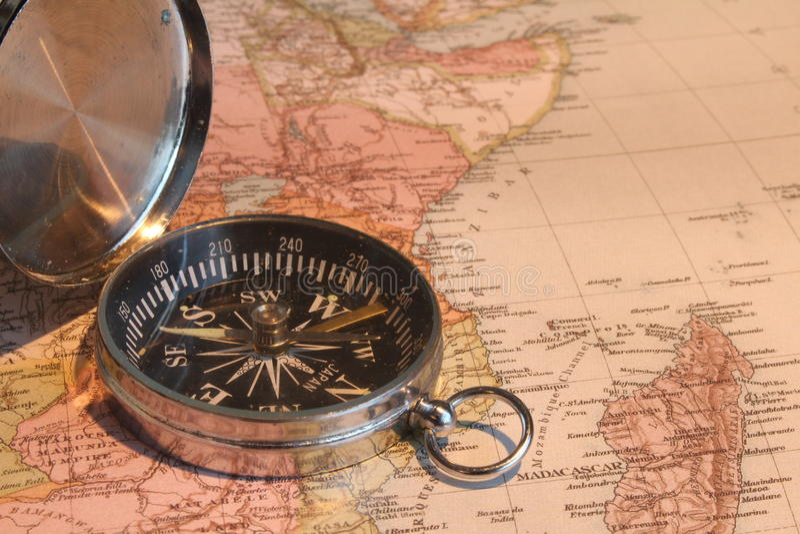 Mapa e compasso fotos de stock royalty free