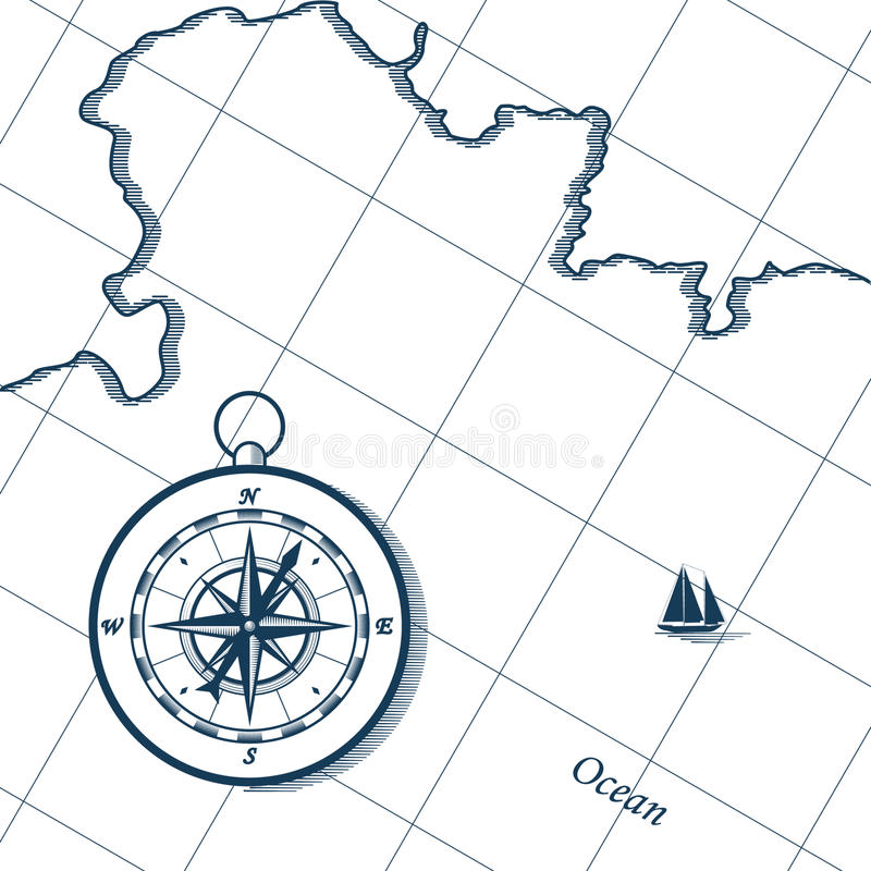 Mapa e compasso ilustração royalty free