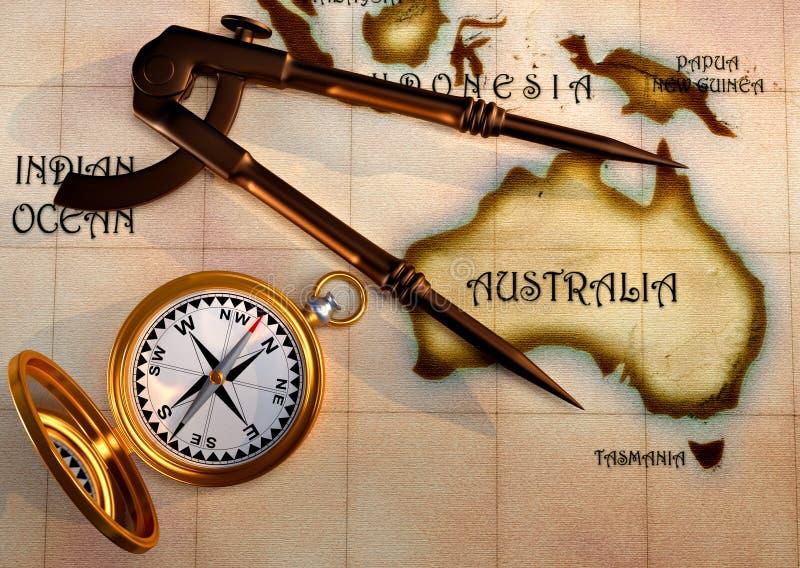 Mapa e compasso velhos ilustração do vetor