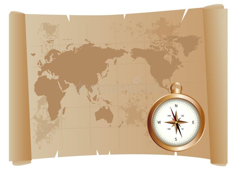 Mapa e compasso velhos ilustração royalty free
