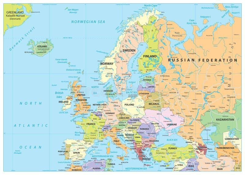 Mapa e estradas políticos de Europa ilustração do vetor
