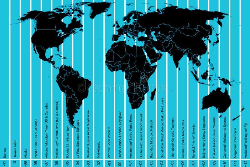 Mapa e fusos horários de mundo ilustração stock