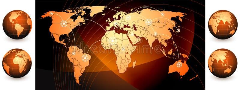 Mapa e globos de mundo ilustração do vetor