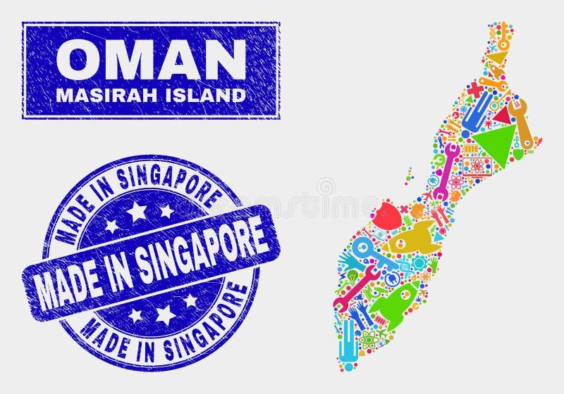 Mapa e Grunge da ilha de Masirah da tecnologia do mosaico feitos na filigrana de Singapura ilustração royalty free