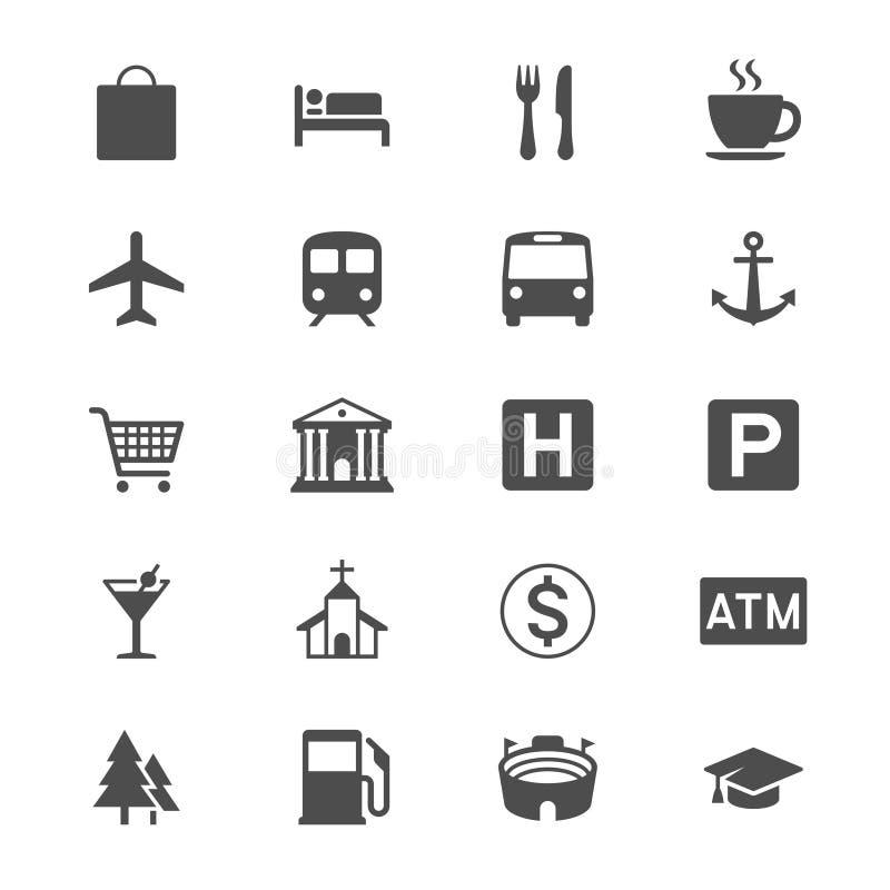 Mapa e iconos planos de la ubicación stock de ilustración
