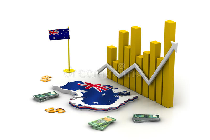 Mapa e moeda de Austrália ilustração royalty free