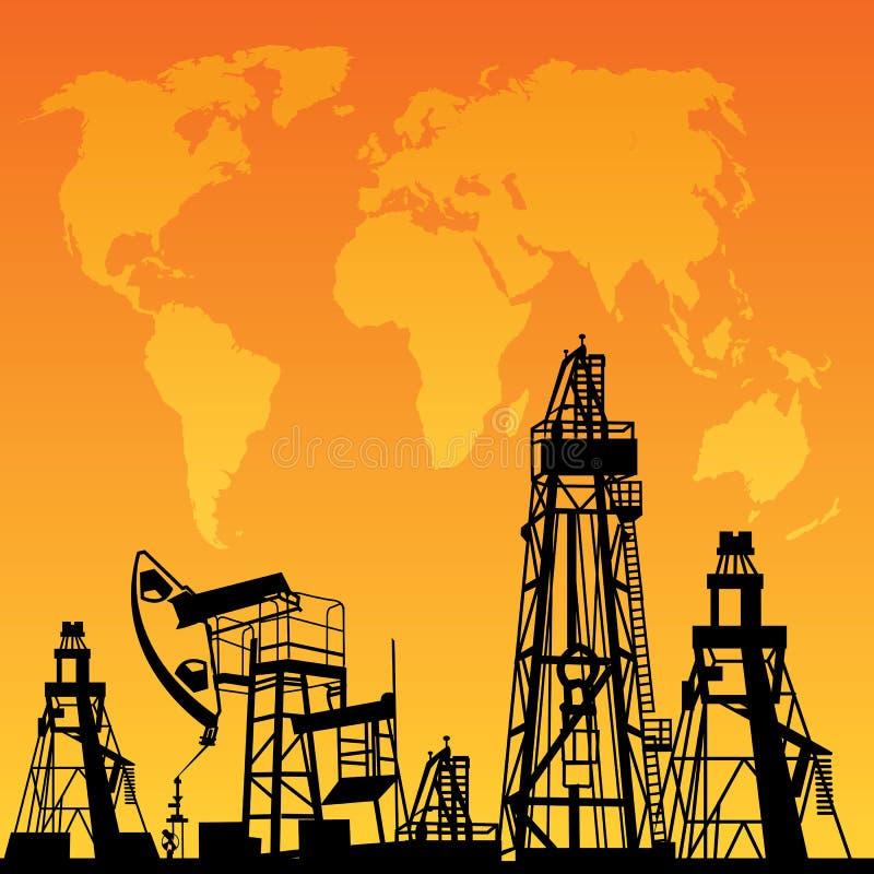 Mapa e plataforma petrolífera ilustração royalty free