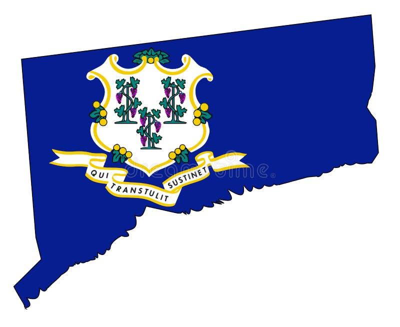 Mapa e selo do esboço do estado de Connecticut ilustração stock