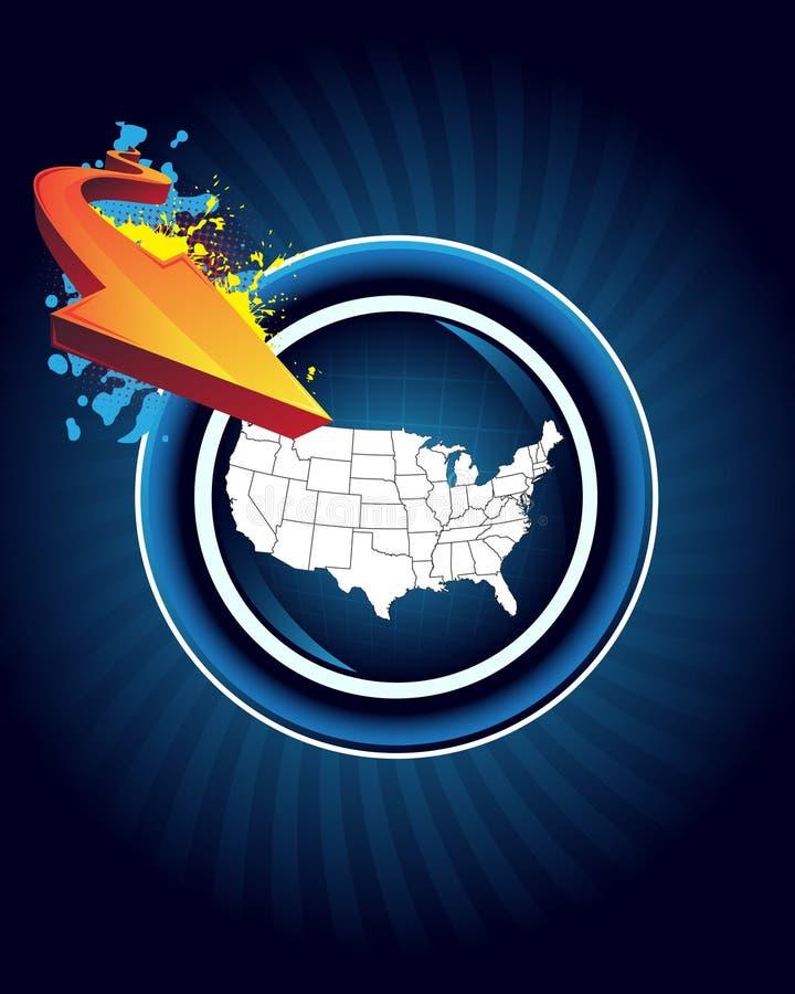 Mapa e seta de América ilustração royalty free