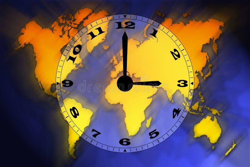 Mapa e tempo de mundo ilustração stock