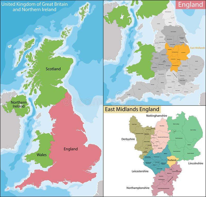 Mapa East Midlands Anglia ilustracja wektor