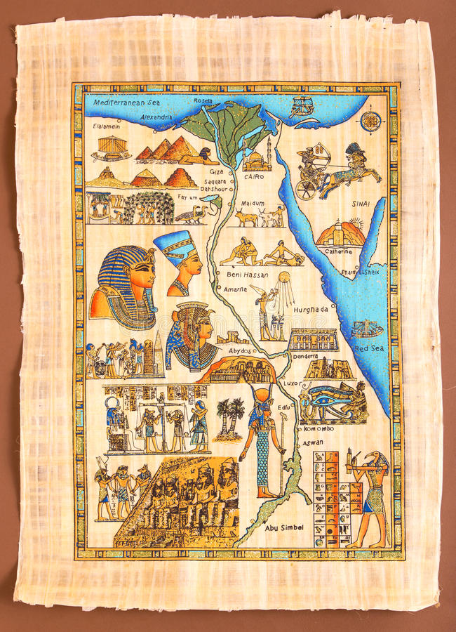 Mapa egípcio no papiro antigo imagem de stock royalty free