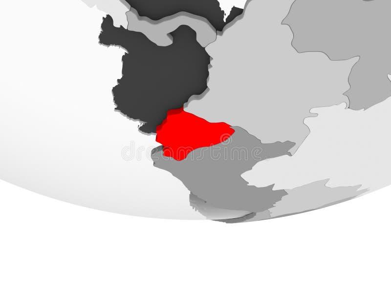 Mapa Ekwador na popielatej politycznej kuli ziemskiej royalty ilustracja