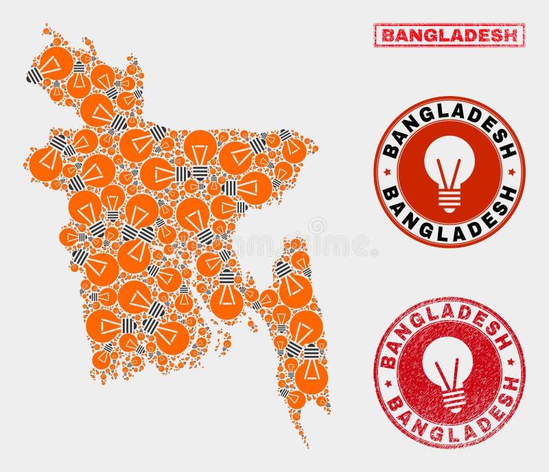 Mapa eléctrico de Bangladesh del collage de la lámpara y sellos de goma ilustración del vector