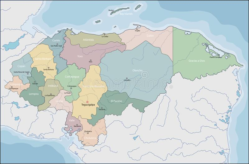 Mapa El Honduras royalty ilustracja