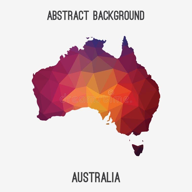 Mapa em poligonal geométrico, estilo de Austrália do mosaico ilustração stock