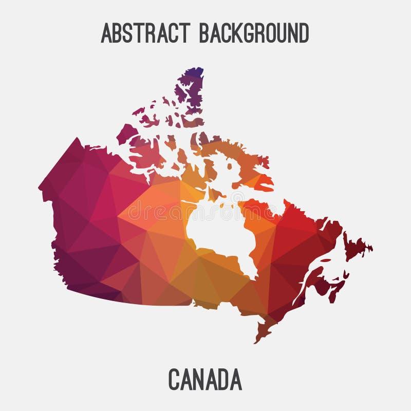 Mapa em poligonal geométrico, estilo de Canadá do mosaico ilustração stock