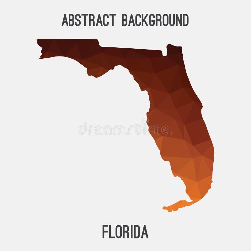 Mapa em poligonal geométrico, estilo de Florida do mosaico ilustração royalty free