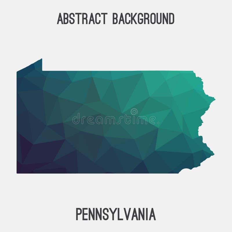 Mapa em poligonal geométrico, estilo de Pensilvânia do mosaico ilustração royalty free