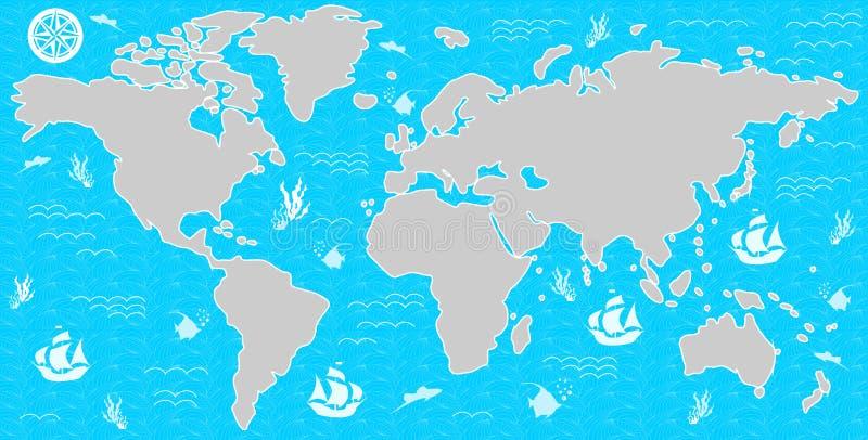 Mapa en azul ilustración del vector
