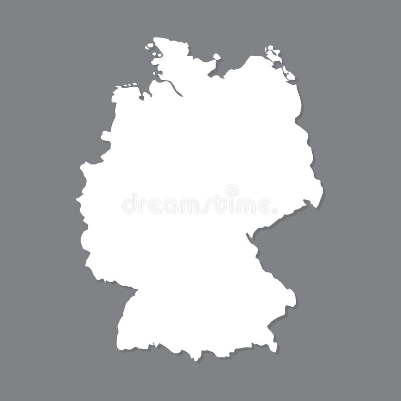 Mapa en blanco Alemania Mapa de alta calidad de Alemania en fondo gris Vector común ilustración del vector