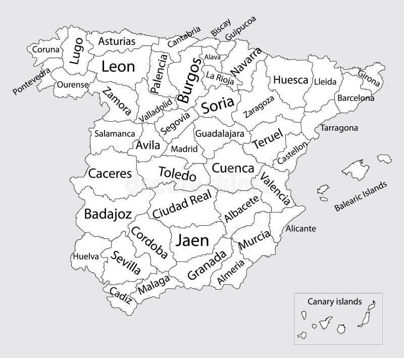 Mapa España Provincias Blanco.Mapa En Blanco Editable De Espana Stock De Ilustracion