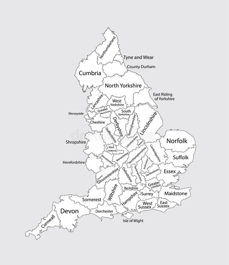 Mapa en blanco Editable de Inglaterra Divisiones administrativas de Inglaterra, provincias separadas ilustración del vector