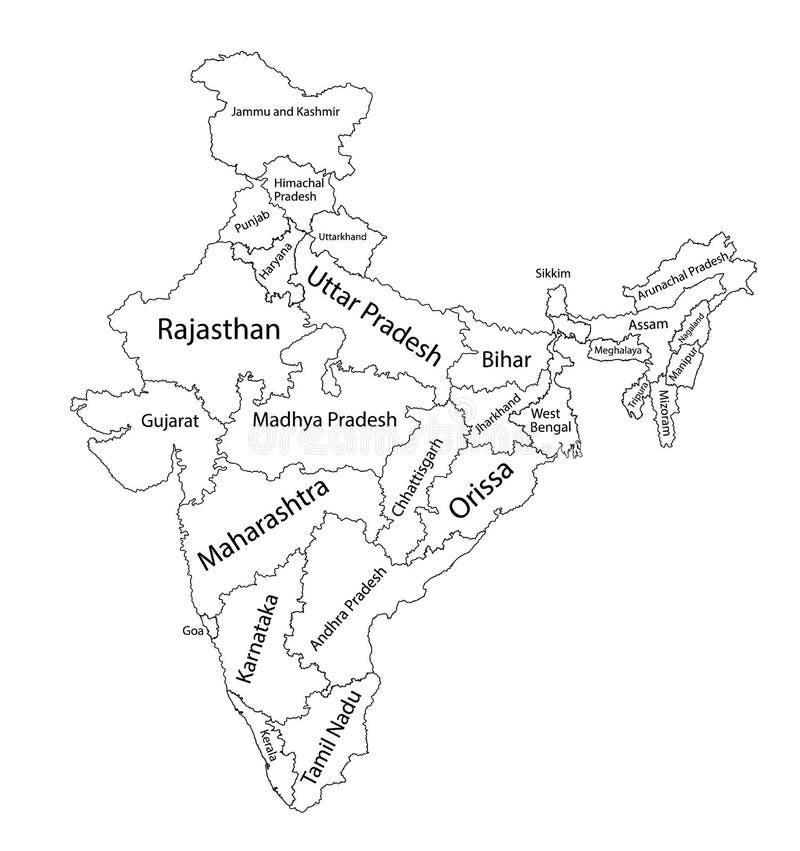 Mapa en blanco Editable de la India Divisiones administrativas de la India, provincias separadas libre illustration