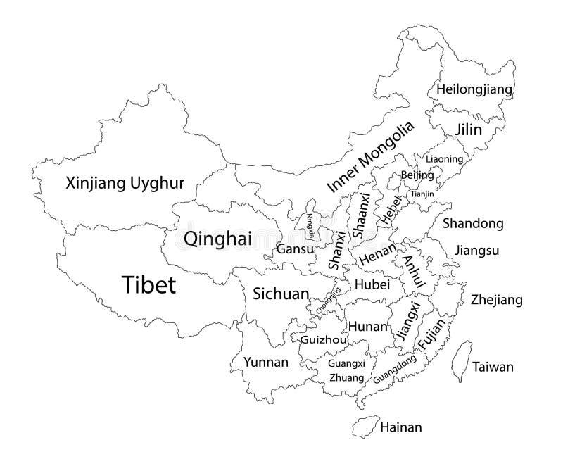 Mapa en blanco Editable del vector de China Divisiones administrativas de condados de China, provincias separadas ilustración del vector