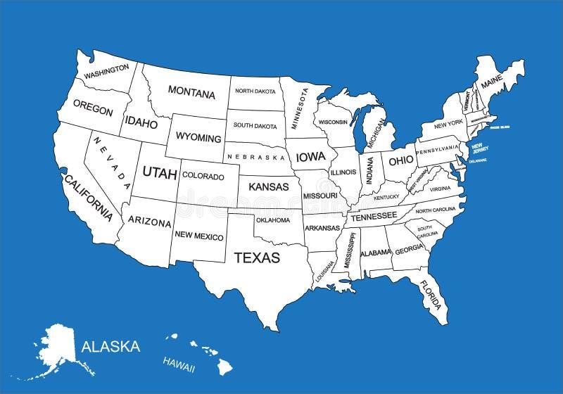 Mapa en blanco Editable del vector de Estados Unidos Mapa del vector de los Estados Unidos de América stock de ilustración
