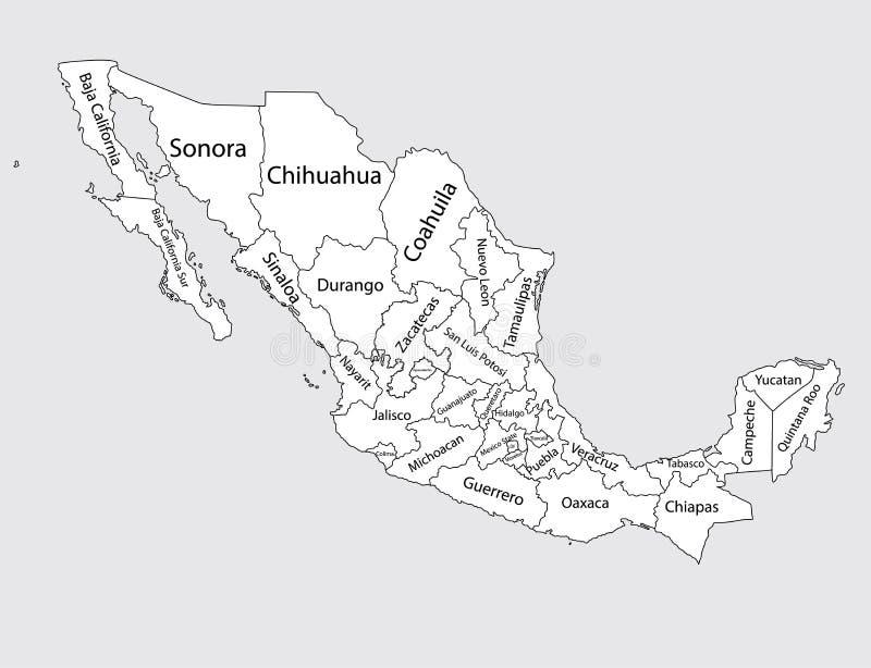 Mapa en blanco Editable del vector de México Comunidades autónomas de México Divisiones administrativas de condados de México ilustración del vector