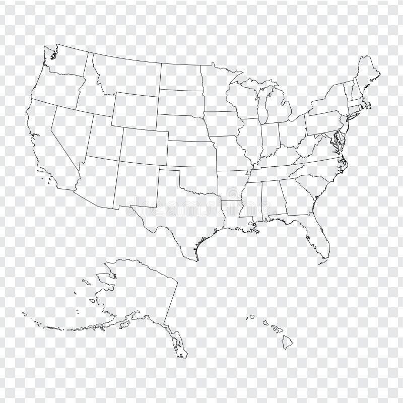 Mapa en blanco los Estados Unidos de América Mapa de alta calidad de los E.E.U.U. con los estados federales en el fondo transpare stock de ilustración