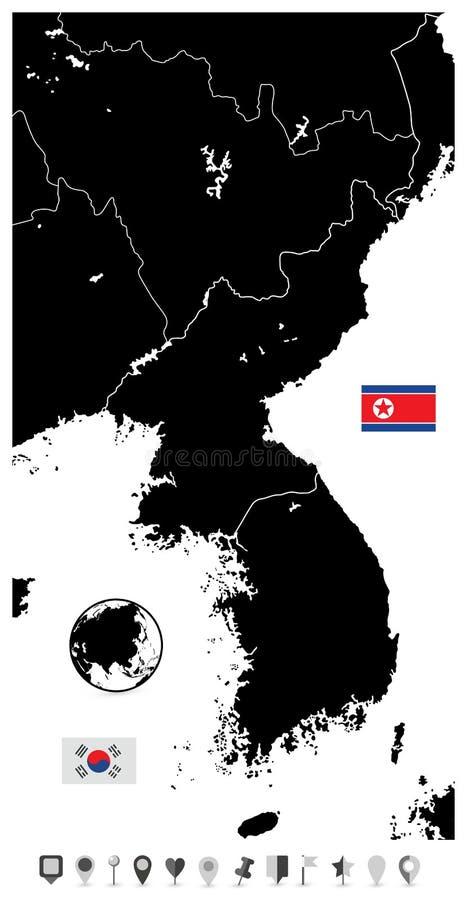 Mapa en blanco negro de la península de Corea, norte y sur Corea y plano ilustración del vector