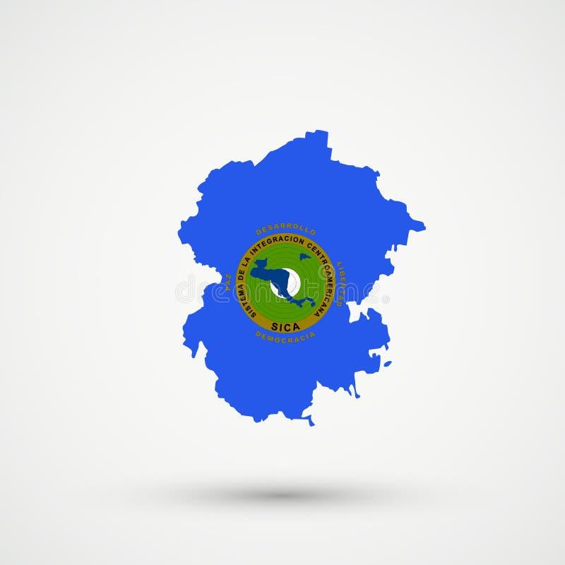 Mapa en colores centroamericanos de la bandera del sistema de la integración, vector editable de Chuvashia ilustración del vector