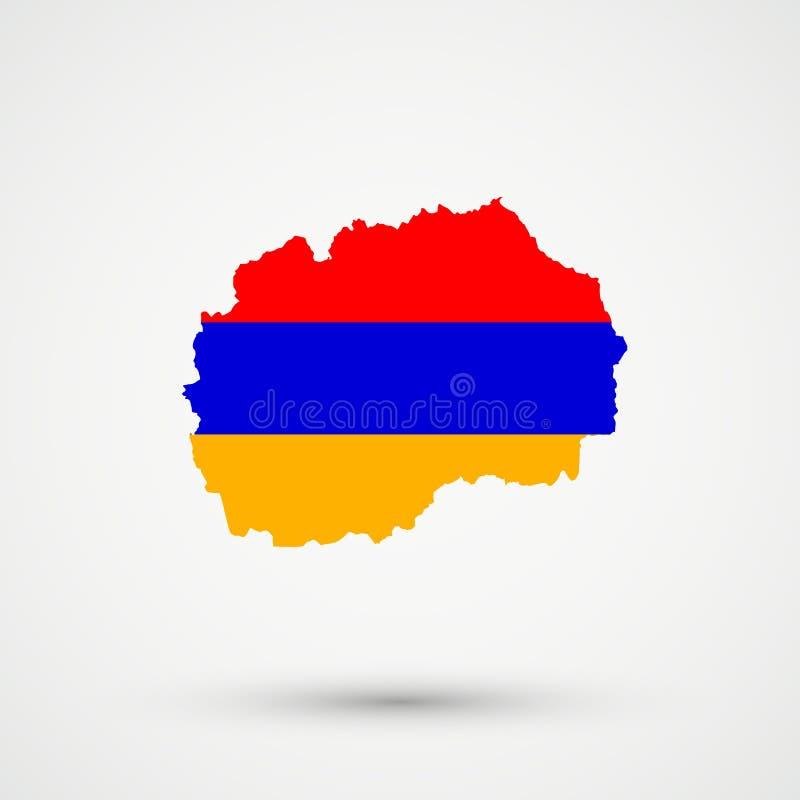 Mapa en colores de la bandera de Armenia, vector editable de Macedonia stock de ilustración