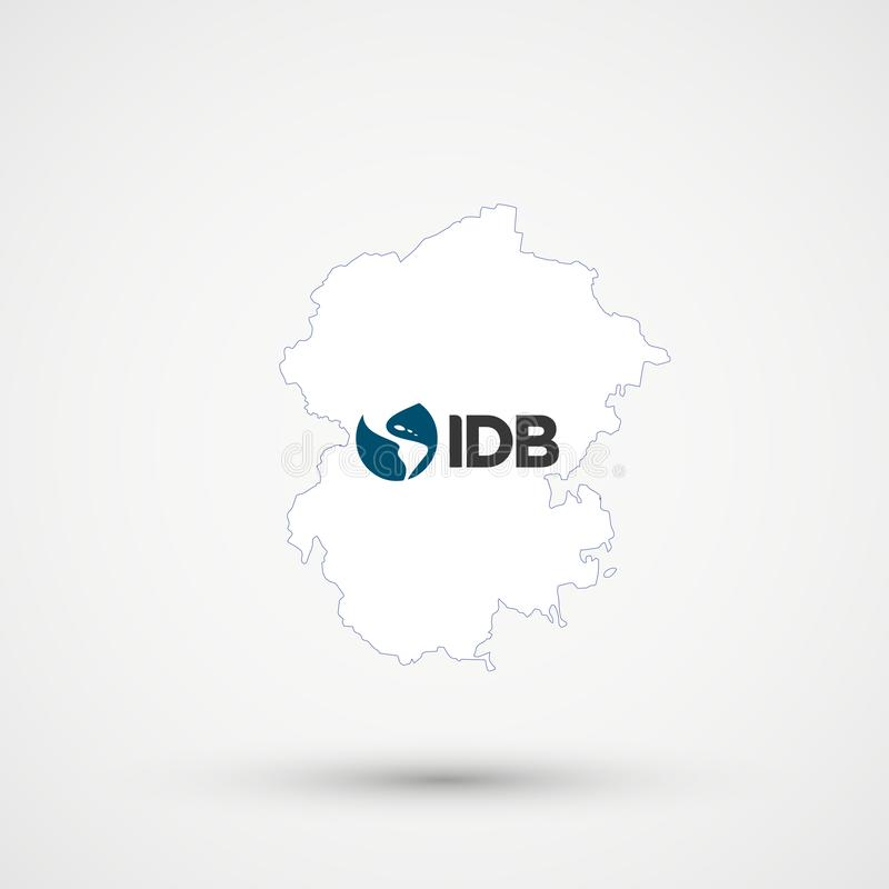 Mapa en colores de la bandera del Banco Interamericano de Desarrollo, vector editable de Chuvashia libre illustration